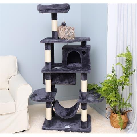 Merax Cat Tree Condo Furniture Play House - Dark Grey