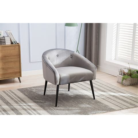 Mid Centry Tufted Buttons Grey Accent Chairs