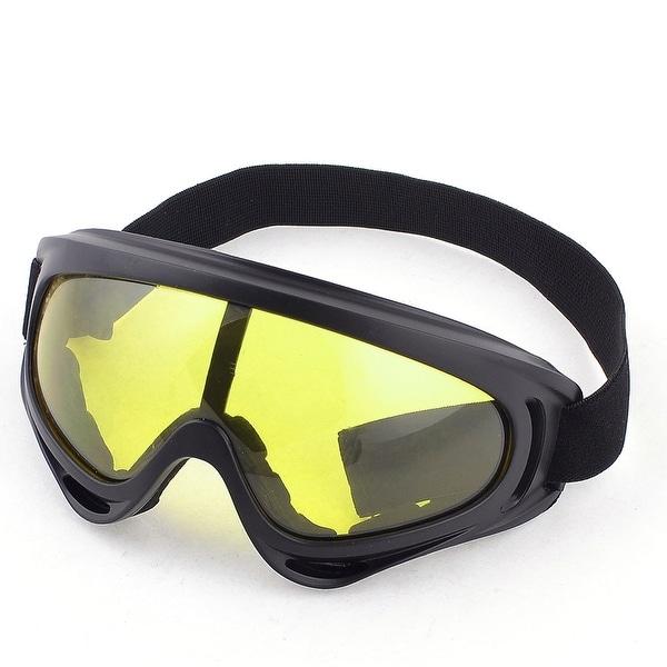 Full Frame Yellow Lens Ski Skate Eyewear Glasses Goggles Black