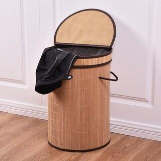 Costway Round Bamboo Hamper Laundry Basket Washing Cloth Storage Bin Bag W/Folding Lid - as pic