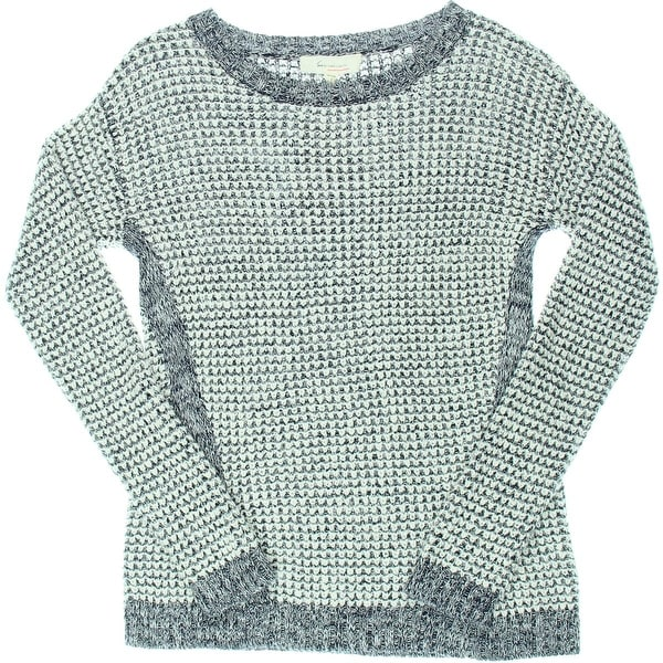 Two by Vince Camuto Womens Pullover Sweater Waffle Knit Jewel