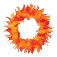Pack of 6 Yellow Red and Orange Autumn Party Decorative Feather Wreath 8""