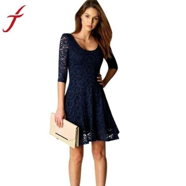Shop Fashion Lace Dress 2017 Sexy Lady Women Office Wear Half Sleeve