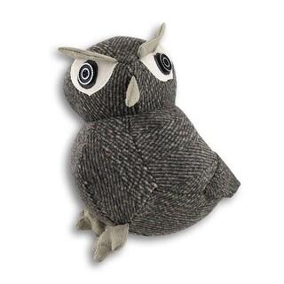 Gray Fabric Tweed Look Owl Door Stop