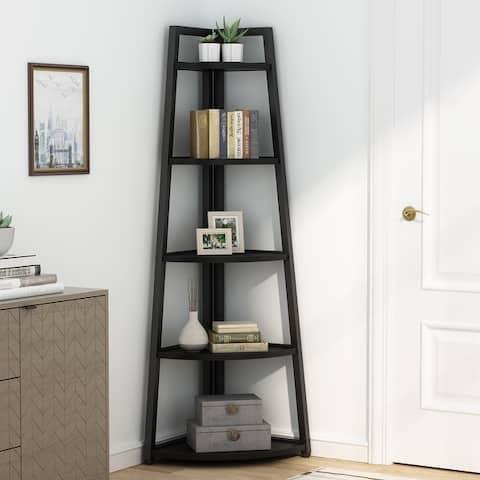 Tribesigns 5 Tier Tall Corner Shelf/Bookshelf /Bookcase/Plant Stan