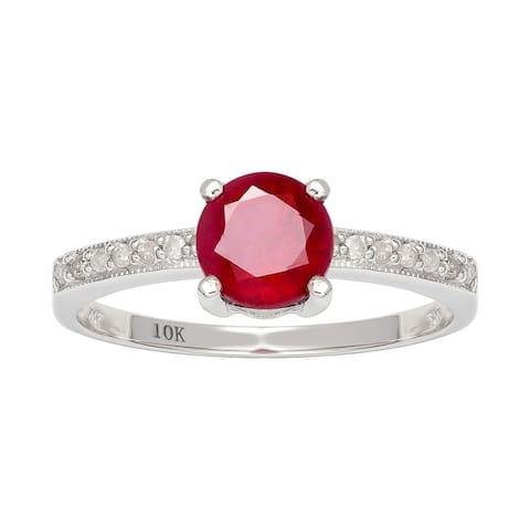 Viducci 10k White Gold Genuine Round Ruby and Diamond Ring