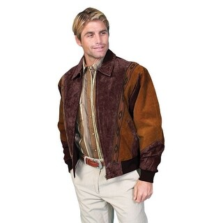 Scully Western Jacket Mens Leather Zip Southwestern Chocolate