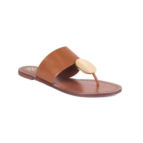 TORY BURCH Women's Leather Patos Disk Thong Sandal Shoes Brown