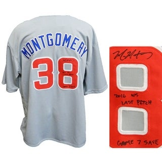 Mike Montgomery Grey Custom Baseball Jersey w2016 WS Last Pitch Game 7 Save