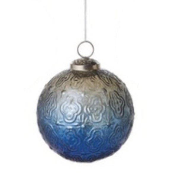 """Winter Light Ombre Clear Blue Floral Glass Christmas Ball Ornament 4"""" (102mm)"""