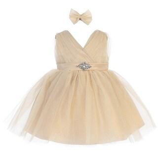 Baby Girls Gold Glitter Tulle V-Neck Rhinestone Brooch Flower Girl Dress (3 options available)