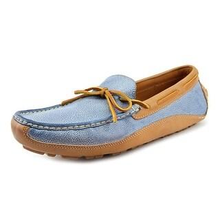 H.S. Trask Drake Men Moc Toe Leather Blue Boat Shoe