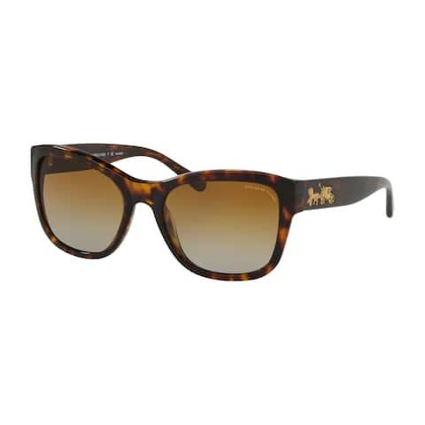 Coach Square HC8243 Women DARK TORT Frame BROWN GRADIENT POLAR Lens Sunglasses