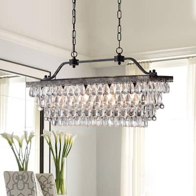 Antique Bronze 4-Light Rectangular Kitchen Island Lighting with Crystal Hanging - Antique Bronze