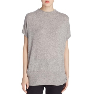 Vince Womens Blouse Cashmere Ribbed Knit Trim - s
