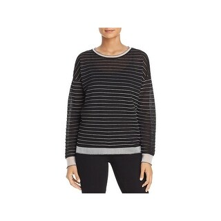 Kenneth Cole Womens Crewneck Sweater Sheer Boxy