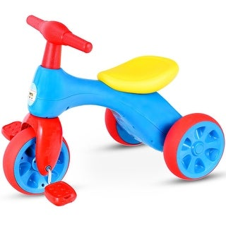 Costway 2 in 1 Toddler Tricycle Balance Bike Scooter Kids Riding Toys w/ Sound & Storage - Blue