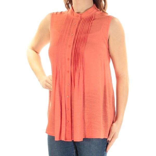 20cd0b8b7c ALFANI Womens Coral Pleated Sleeveless Mandarin Collar Button Up Top Size:  10
