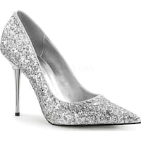 Pleaser Women's Appeal 20G Pointed-Toe Pump Silver Glitter Polyurethane