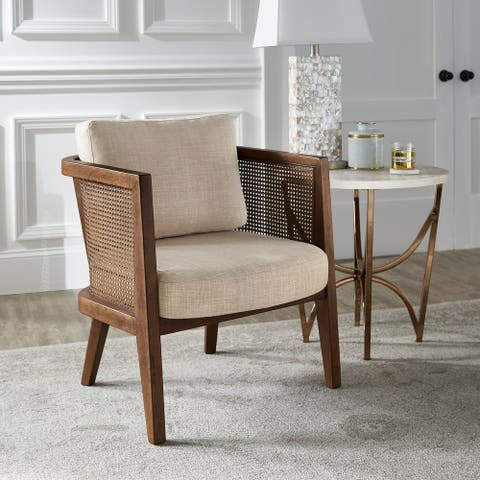 Celann Walnut Finish Fabric Cane Accent Chair by iNSPIRE Q Modern