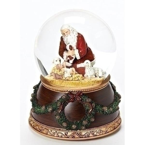 "6""Religious Musical Kneeling Santa Dome - brown"