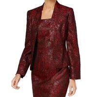 Kasper Red Womens Size 6 Open Front Jacquard Metallic Jacket