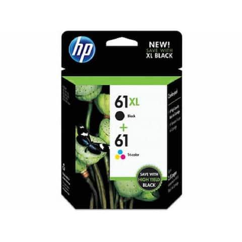 HP 61XL Black High-Yield & 61 Tri-Color Ink Cartridges, 2-Pack CZ138FN
