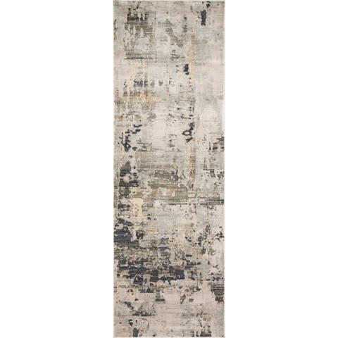 "Alexander Home Mid-Century Modern Natural Distressed Area Rug - 2'7"" x 8' Runner"