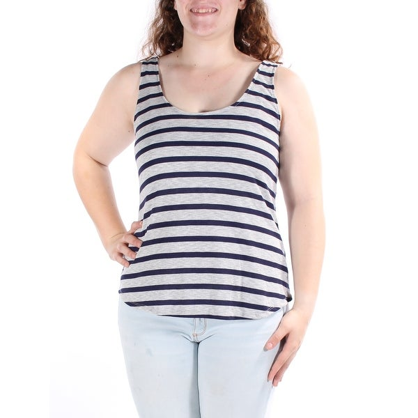 6e4f1bce19 Shop ULTRA FLIRT Womens Navy SPORTS BRA INCLUDED Striped Sleeveless Scoop  Neck Top Juniors Size  XL - On Sale - Free Shipping On Orders Over  45 ...