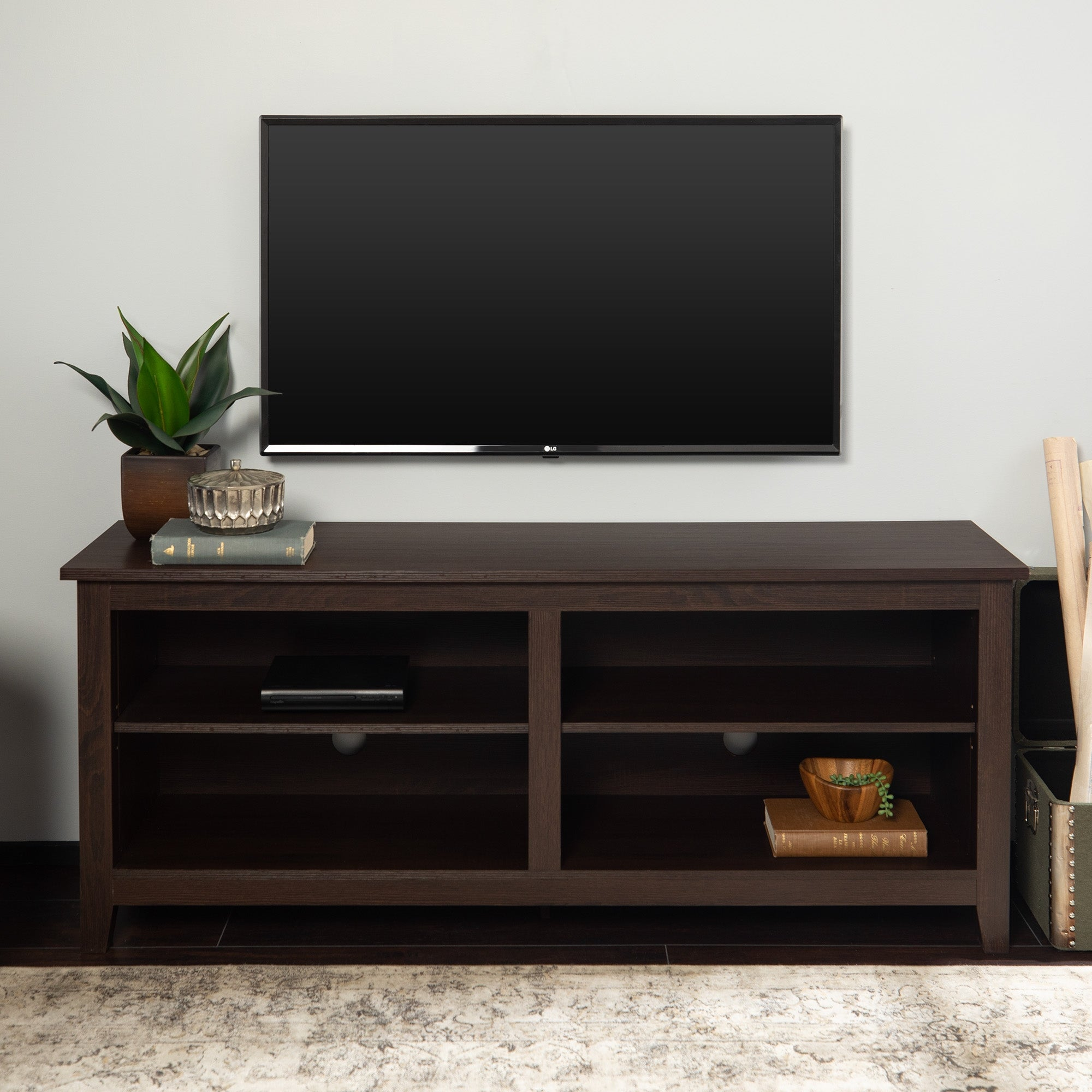 58 Inch Espresso Brown Tv Stand Console With Adjustable Shelving Overstock 7315956