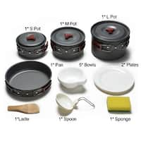 ODOLAND 14in1 Camping Cookware Kit for 3 to 5 People Campfire Cook Set Pan Pots Plates