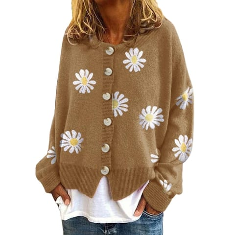 Women Long Sleeve Marguerite Print Sweater Cardigan Autumn Knitted Jacket Coat
