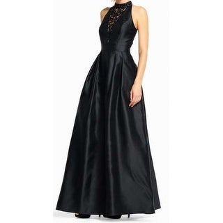 Adrianna Papell Black Womens Size 6P Petite Embellished Gown Dress