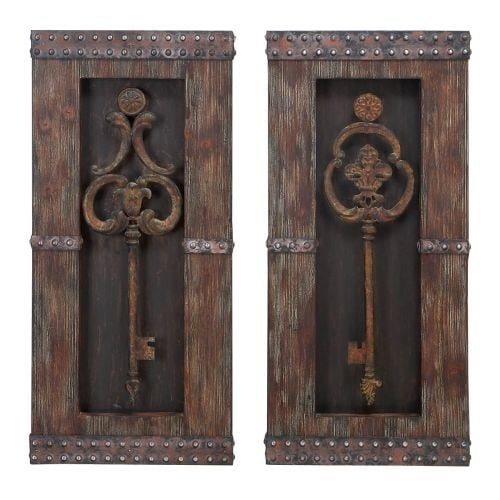 Aspire Home Accents 68402 Antique Key Wood Wall Decor (Set of 2) - Brown