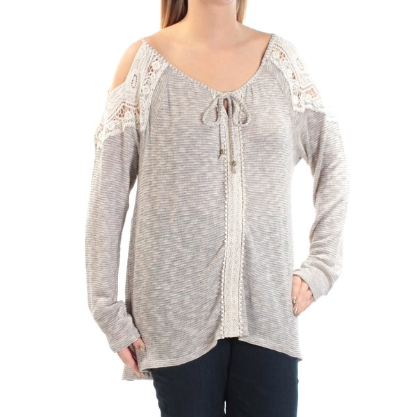 3d7897c250277 STYLE  amp  COMPANY Womens Beige Cold Shoulder Long Sleeve V Neck Tunic Top  ...