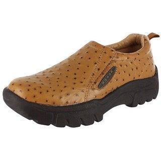 Roper Western Shoes Mens Wide Ostrich Slip On Tan 09-020-0601-8350 TA