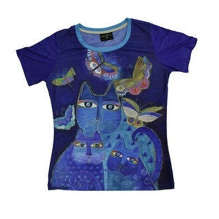 Laurel Burch Indigo Cats Blue Short Sleeve Ladies T-Shirt