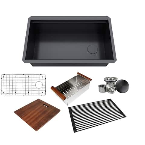 32 in. Black Stainless Steel ALL-IN-ONE Workstation 16-Gauge Undermount Single Bowl Kitchen Sink w/ Build-in Ledge Accessories