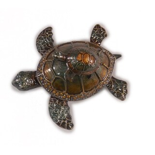 "Sea Creations Sea Turtle with baby Jewelry Box 3"" Green"