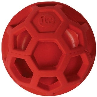 "JW Pet 43510 Treat N Squeak Toy for Dog, Red, 3-1/2"" L"