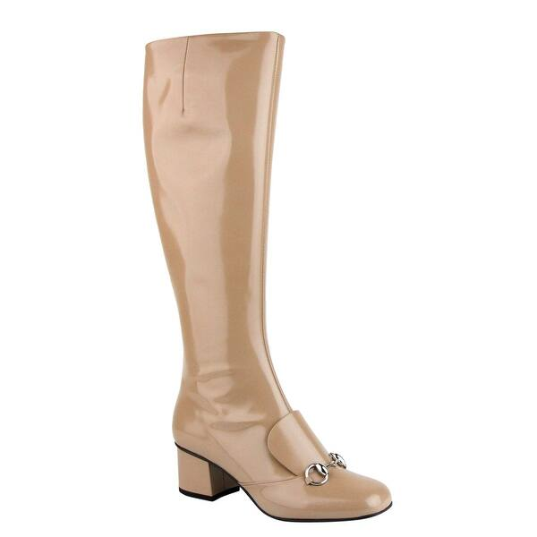 4cac464d7 Gucci Camel Patent Leather Knee Boots with Silver Horsebit 362949 2612 (G  37 / US 7)