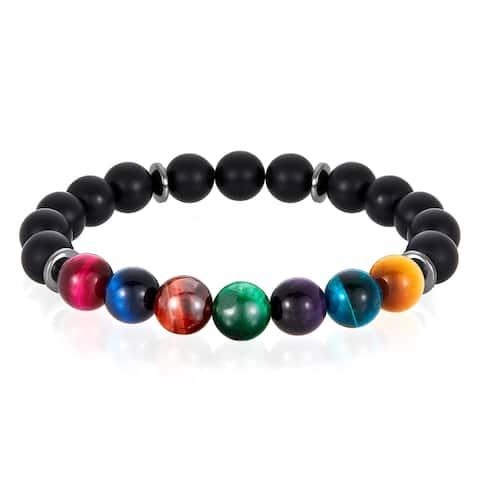 Multi Tiger Eye and Matte Onyx Stone Bead Stretch Bracelet (10mm)