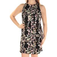 INC International Concepts Womens Black Floral Jewel Neck Sleeveless Shift Dress, Black,  Size M