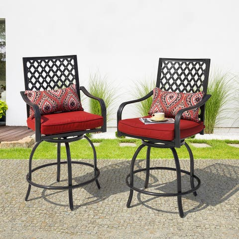 Nuu Garden Antique Black Swivel Bistro Stool Set with Cushions