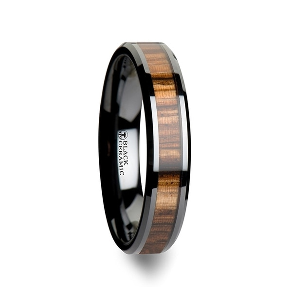 THORSTEN - ZEBRANO Black Ceramic Ring with Beveled Edges and Real Zebra Wood Inlay - 4mm
