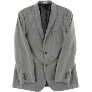 Calvin Klein Mens Marled Notch Lapel Two-Button Suit Jacket