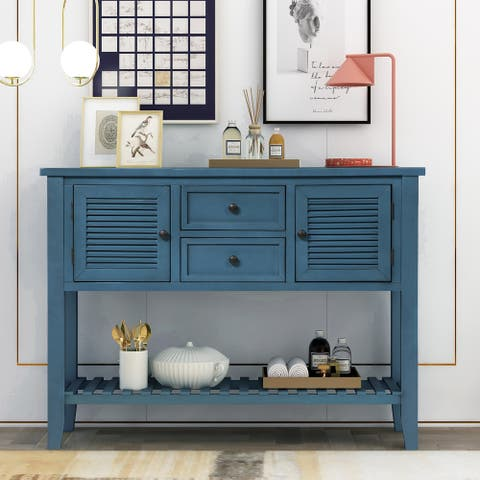 Retro Console Table Sideboard with Shutter doors, Two Storage Drawers and Bottom Shelf for Entryway