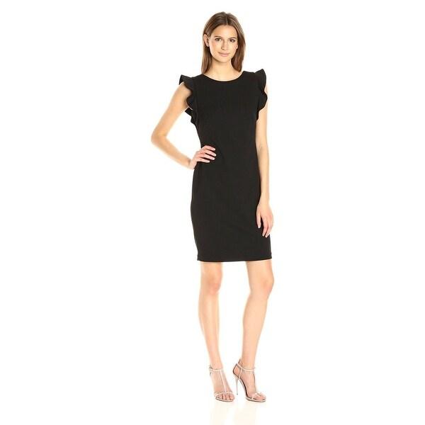 a2df9433 Calvin Klein Women's Round Neck Sheath Dress Flutter Sleeve, Low Back