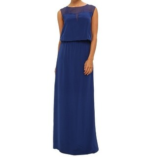 Nicole Miller NEW Blue Women's Size 4 Illusion Silk Maxi Dress