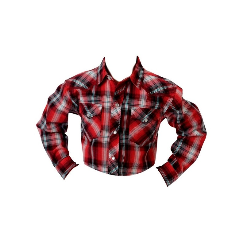 b8204b22 Shop Roper Western Shirt Boys L/S Snap Plaid Red 03-030-0062-0230 RE - Free  Shipping On Orders Over $45 - Overstock - 17130452